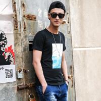 点就 纯棉短袖t恤男圆领宽松夏季韩版潮印花打底衫上衣VZTX17036