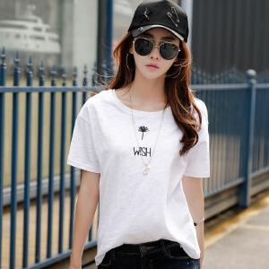 竹节棉纯白色T恤短袖女圆领夏季宽松半袖纯棉韩版打底体恤小衫