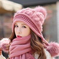 帽子女冬季兔毛帽针织帽保暖毛线帽时尚毛球护耳帽贝雷帽