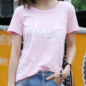 卡茗语粉色夏季新款圆领字母印花短袖T恤韩版女装