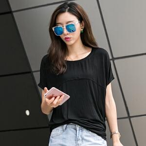 卡茗语 辣妈新款短袖t恤女宽松韩版夏装圆领半袖上衣百搭大码体恤衫蝙蝠袖