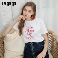 Lagogo/拉谷谷2019夏季新款印花短袖圆领白色T恤女IATT313G50