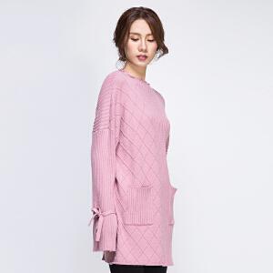 粉色套头针织衫毛衣女中长款秋冬2017新款不对称系带喇叭袖上衣厚