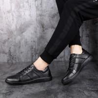 夏季休闲潮流男鞋真皮皮鞋板鞋运动跑步鞋韩版时尚百搭低帮潮鞋 黑色