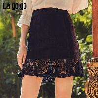 Lagogo2019年春夏新款裙子黑色a型高腰短裙半身裙女IABB193A43