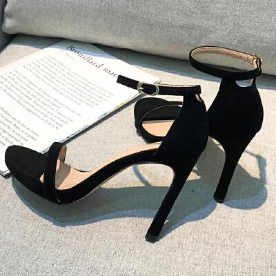 2019新款黑色露趾一字带扣细跟凉鞋女细带高跟鞋百搭