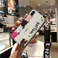 斜跨腕苹果8plus手机壳可背包挂绳x女款iPhone XS MAX支架全包防摔sp时尚个性创意6s