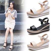 品牌真品夏季新款女鞋 真皮休闲韩版坡跟小码增高凉鞋女