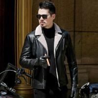男士皮衣外套冬季加绒加厚夹克男中年爸爸冬装翻领皮毛一体皮夹克