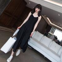 大码女装吊带连衣裙女长裙加肥加大胖MM冷淡风修身显瘦小黑裙 黑色 M 80-100