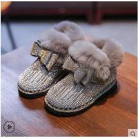 钻防水棉鞋公主2宝宝女小童加绒冬季小童女女宝宝儿童女童雪地靴