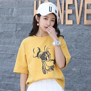 夏装新款女宽松短袖女学生韩版白色t恤女
