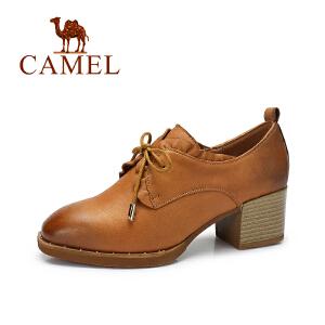 camel/骆驼女鞋 秋季新品简约英伦小皮鞋女复古荷叶边高跟单鞋
