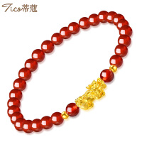 蒂蔻 黄金手链女款 黄金貔貅红玛瑙手链女士款节日礼物送老婆送女友送妈妈