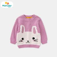 马卡乐女宝宝毛衫女童长袖套头可爱兔子造型时尚2019年冬新款