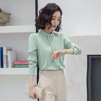 长袖雪纺白衬衫女2021春季新款女士气质时尚洋气打底立领职业衬衣