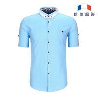 新款纯色短袖衬衫青年修身时尚休闲韩版扣领男士衬衣潮