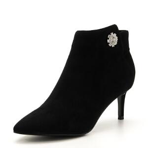 D:Fuse/迪芙斯羊反绒尖头拉链磨砂高跟短靴DF74116081