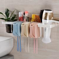 放牙刷牙膏水杯置物架抖音用卫生间装放多功能牙刷漱口杯架套装吸壁式
