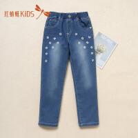 红蜻蜓新款印花可爱舒适百搭时尚潮流长裤女童儿童牛仔裤