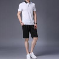 verhouse 短袖套装男夏季新款时尚翻领上衣+短裤休闲两件套宽松薄款