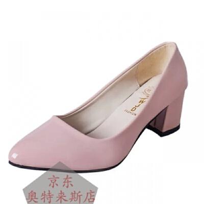 春秋季单鞋白色小皮鞋女尖头高跟单鞋女粗跟大小码工作鞋OL职业上班鞋气质优雅舒适女鞋简约潮款