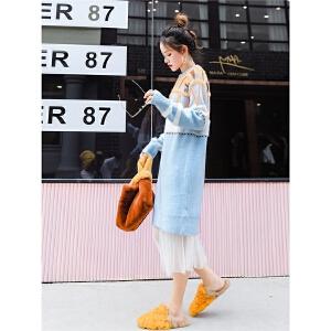 七格格长袖针织连衣裙女秋冬新款韩版中长款法式少女毛衣裙子