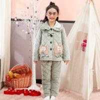 儿童睡衣女冬季保暖女童家居服中大童三层夹棉套装