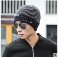 条纹包头帽套头帽保暖套装男士帽子加厚加绒保暖针织毛线帽护耳护脖