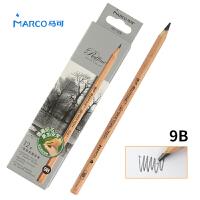 MARCO/马可 7001-12CB 高级绘图铅笔12支装/9B 原木杆初学者素描笔专业美术用品画材套装速写笔儿童全灰