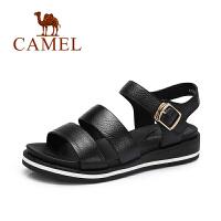 【每满200减100】camel骆驼女鞋 夏季新款 日系原宿风露趾小坡跟休闲真皮凉鞋