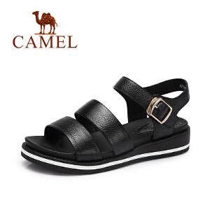 camel骆驼女鞋 夏季新款 日系原宿风露趾小坡跟休闲真皮凉鞋