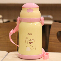 儿童保温杯带吸管水壶卡通可爱宝宝男女幼儿园不锈钢带手柄水杯子 粉盖380ml 665