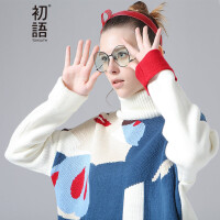 初语 迪士尼合作款冬季毛衣卡通宽松高领针织衫女D8640423050