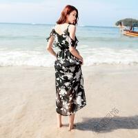 2018度假雪纺长裙黑底白花吊带连衣裙波西米亚沙滩裙夏 黑底白花