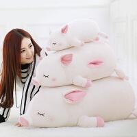 维莱 猪公仔毛绒玩具女生猪猪抱枕玩偶大布娃娃暖手捂送女友情人节礼物 白 45cm(不可插手)
