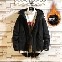 冬季外套男士中长款风衣日系复古冬装羊羔绒衣服韩版潮流加厚夹克