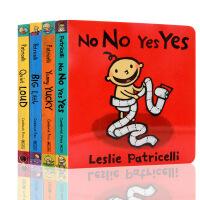 英文原版绘本 Leslie Patricelli 系列4册合售 Yummy Yucky Big Little No N