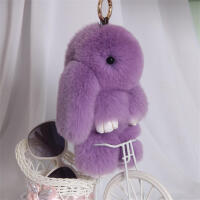 萌獭兔小兔子皮草挂饰 装死兔挂饰水貂毛书包挂件毛绒钥匙扣