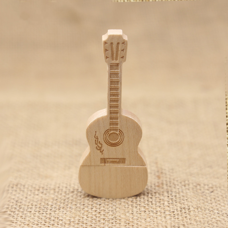 木质吉它16G u盘 创意礼品定制木头商务节日diylogo 个性礼物 办公时尚 批量定制 多种容量可选 设计 A级芯片