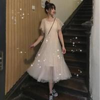 2019夏季韩版套装裙子中长款网纱裙很仙的吊带连衣裙女两件套