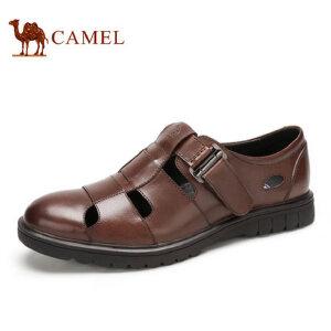 camel骆驼男鞋 夏季时尚休闲鞋子 舒适透气牛皮镂空凉鞋