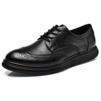 布洛克雕男鞋夜店个性黑英伦风头层牛皮大码4647商务休闲小皮鞋男 黑色