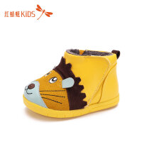 【1件2折后:35.8元】红蜻蜓童鞋冬款韩版短靴加绒保暖卡通洋气防水保暖儿童靴子