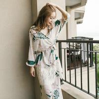 2018新款春秋季韩版性感吊带全纯棉睡衣女士带胸垫仙女气质家居服三件套装