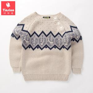 【1件3折价:68.7】纤丝鸟(TINSINO)儿童套头毛衣男童插肩加厚毛衫宝宝针织衫