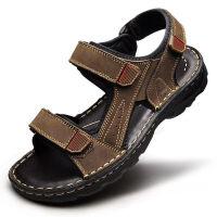 【头层牛皮】夏季凉鞋男透气厚底增高鞋牛皮休闲鞋越南沙滩鞋 42 标准皮鞋码