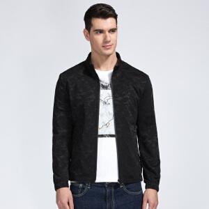 才子男装(TRIES)夹克 男士2017年新款黑色创意花纹时尚休闲修身版百搭夹克