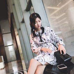 谜秀 长袖连衣裙女碎花2017秋装新款女装宽松仙女气质裙子女潮