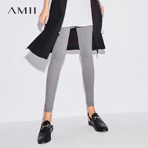 Amii极简chic原宿bf铅笔裤女2018秋装新款高腰纯色显瘦窄腿小脚裤